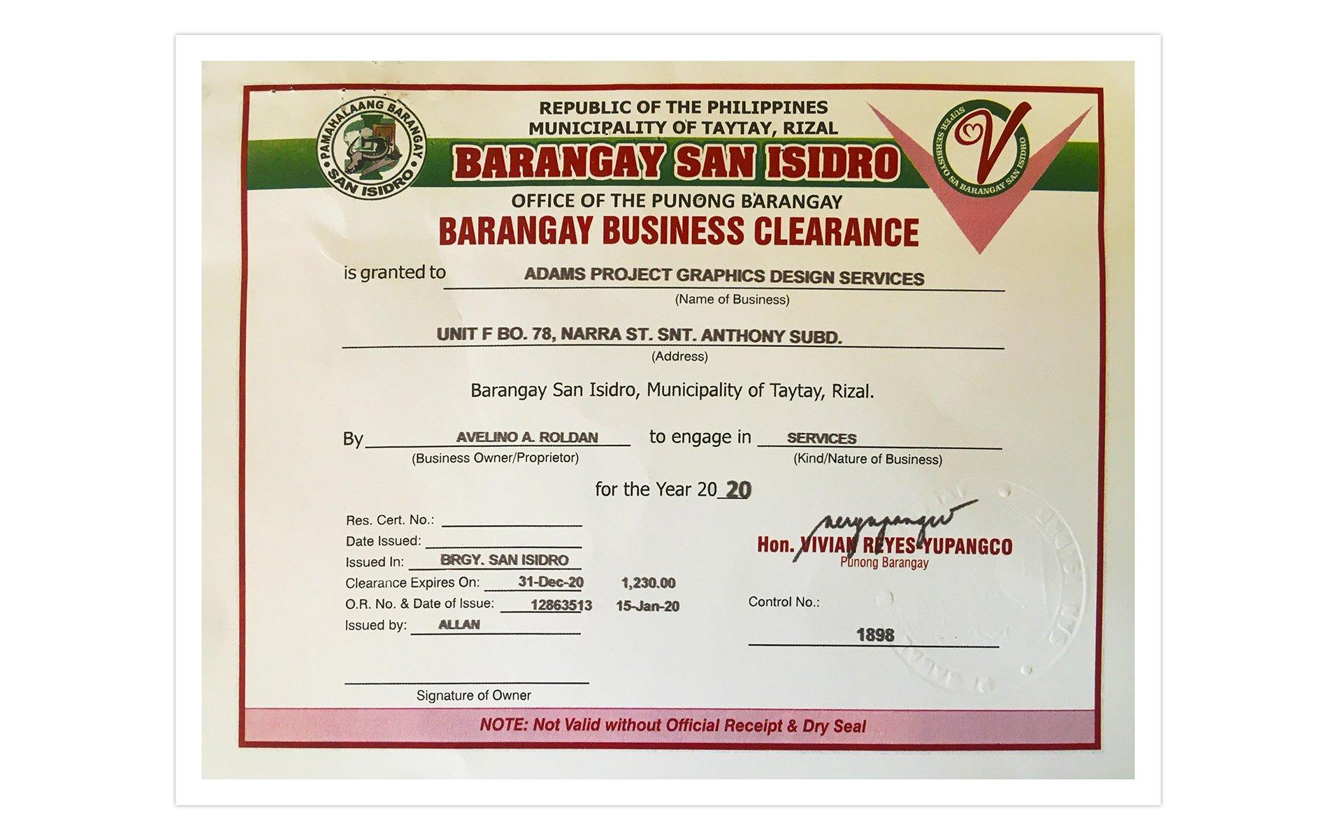 Barangay Business Clearance