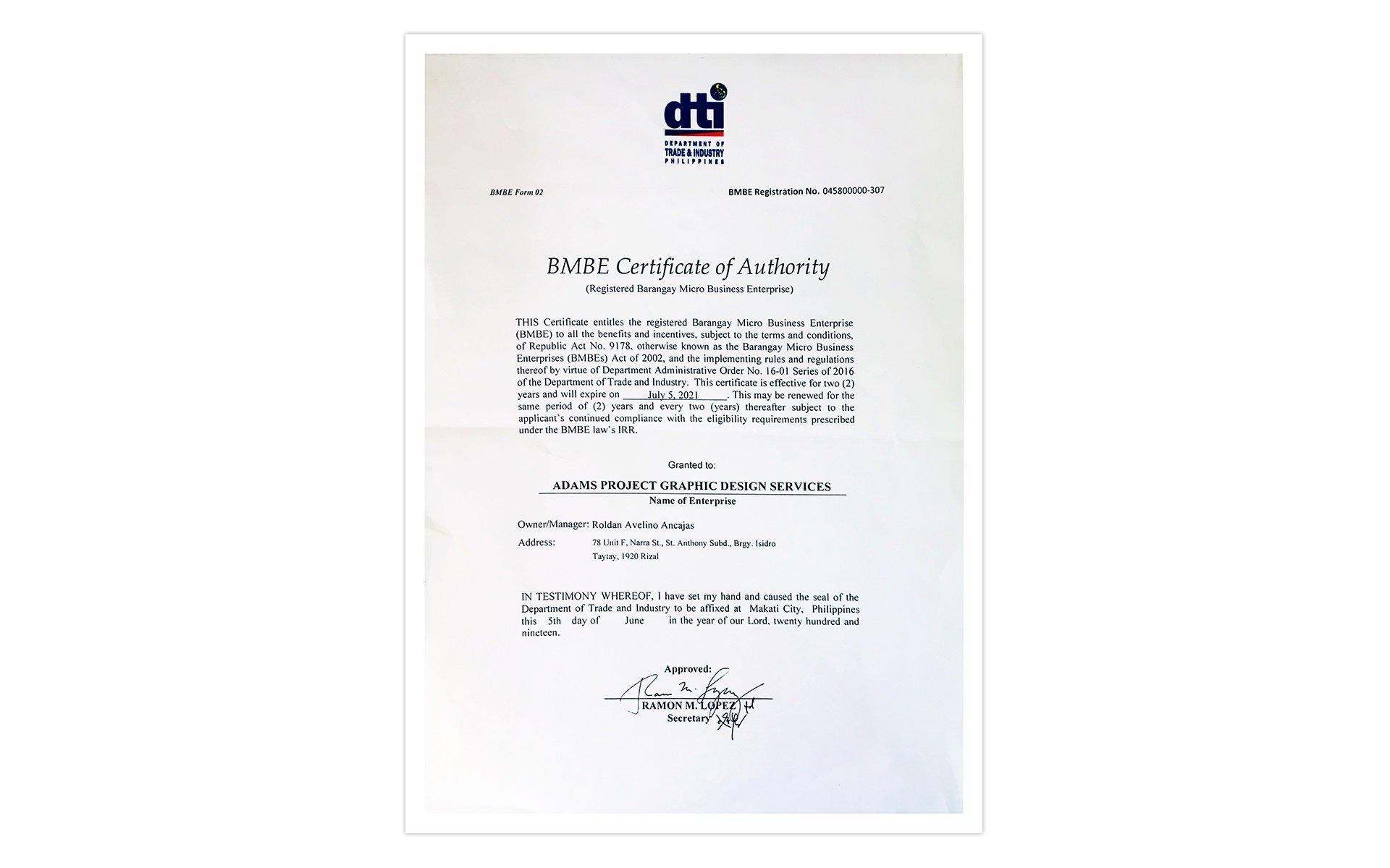 DTI BMBE Certificate