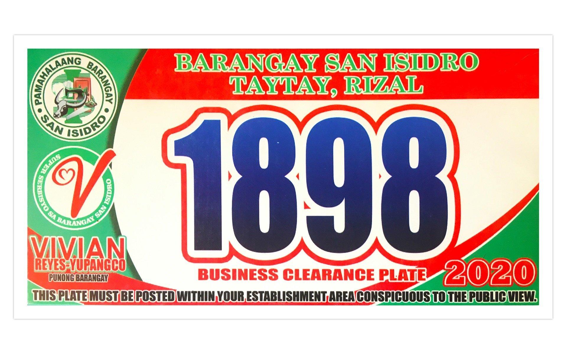 License Plate Brgy. San Isidro